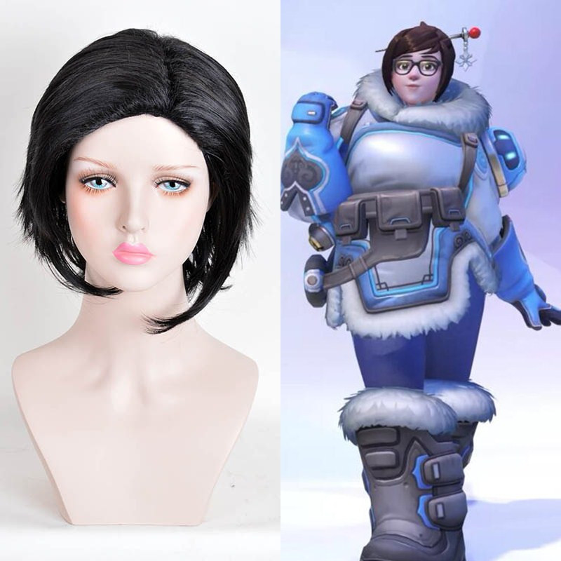 Overwatch Cosplay Wig Short Straight Black Crochet Braids Wigs Fashion Party Cheap Synthetic Kinky Wig Hair Bundles<br><br>Aliexpress