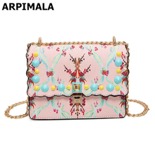 ARPIMALA Beauty Printed Flower Summer Bag Pretty Stud Satchels Women White Pink Leather Handbags Luxury Designer Beach Bag 2017