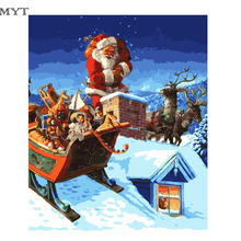 Diy oil painting by numbers Santa Claus cheap diy paintings pictures on canvas home decoration unique gift craft paint