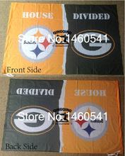 Pittsburgh Steelers Green Bay Packers House Divided Flag 3ft x 5ft Polyester NCAA Banner Size No.4 144* 96cm QingQing Flag(China)
