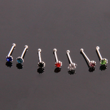 20pcs/set Fashion Sliver 925 Nose Ring Body Jewelry Nose Stud Surgical Nose Piercing Crystal Stud Mixed Color 877225