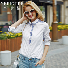 Veri Gude Women White Blouse Patchwork Stripes Contrast Color Front and Back Cotton Fabric(China)