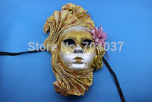 (1 piece/lot)  New gold color full-face pulp Venetian Larva mask Elegant party masks