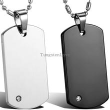 High Quality Free Chain Fashion Men's Tungsten Carbide Dog Tag Pendant Necklaces Punk Rock Style Jewelry Boys Men Gifts(China)