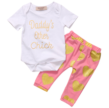 Summer Toddler Newborn Baby Boys Girls Short Sleeve Love Heart Printed Tops Romper+Long Pants 2pcs Outfits Set