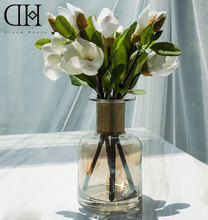 DH potted 4 pcs white magnolia flowers home decoration glass vase fake flowers wedding decoration artificial potted flowers