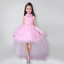 Girls Trailing Dresses Rose Princess Dress Lady Pearl Trail 2017 Tail Wedding Party Tuxedo Girl tutu kids dresses Girls Clothes