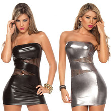Buy Porn Lingerie Sexy Hot Erotic Underwear Women Imitation Leather Nightclub Mini Dress + G-string Erotic Lingerie Sexy Costumes