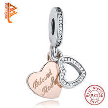 Classic 925 Sterling Silver Beloved Mother Heart Charms Fit Original BW Bracelet DIY Jewelry Gold Color charm pendent(China)