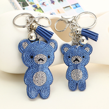 MINHIN Brand Design Crystal Rhinestone Bear Shape Key Chains Silver Plated Key Rings Accessories Women Souvenir Car Key Chain(China)