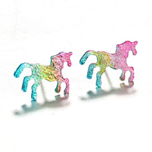 Buy 10 pairs/lot Stud Earrings Colorful Cartoons Glitter Unicorn Shiny Earring Bling Horse Earring Women Men Jewelry Accessories for $5.62 in AliExpress store