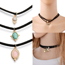 LNRRABC Sale 3 Pcs/set  New Black Ribbon Velvet Choker Necklace  Sun&Moon&Star Jewelry