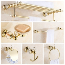 Copper Bathroom Hardware Sets Modern Golden Finish Crystal Toilet Paper Holder/Cup Holder/Towel Bar/Robe Hook/Soap Ceramics Dish