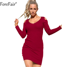 Buy ForeFair Women Sexy Open Shoulder V-neck Long Sleeve Bodycon Dress Black Red Knitted Stripped Elastic Plus Size Autumn Dress for $10.82 in AliExpress store
