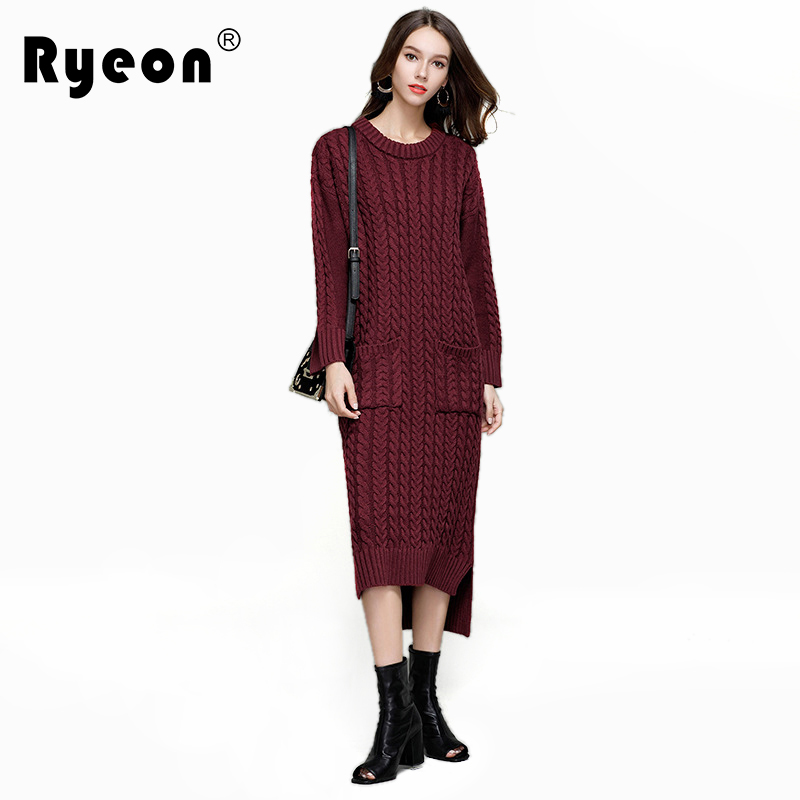 Ryeon Over Sized Sweater Dress Women Autumn Winter Long Sleeve Double Pocket Spaghetti Strap Casual Sexy knitted Sweater DressesÎäåæäà è àêñåññóàðû<br><br>