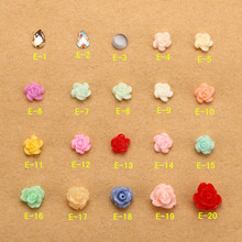 500PCS Small Flower Cabochon w/ Clear Rhinestones (Flatback) Fimo Rose Nail Art Floral Polymer Clay Nail Deco Scrapbook E-1-20