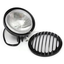 RPMMOTOR 6 inches Black Motorcycle Bike Bullet Halogen Headlight Light Lamp For Harley Chopper