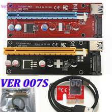 VER 007S Red PCI-E PCI E Express Riser Card 1x to 16x SATA Molex Power Supply + USB 3.0 Data Cable For BTC Miner Machine 50set