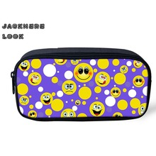 JACKHERELOOK Emoji Smiley Zipper Cosmetic Bag For Women Girl Make Up Case Youth Teens Coin Case Storage Pen Pencil Bags Holder
