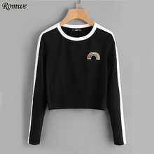 ROMWE Rainbow Patch Cute T-shirt Contrast Panel Crop Top 2017 Women Casual Color Block Tops Autumn New Long Sleeve Brief T-shirt(China)