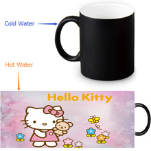 Free shipping Hello Kitty Mug Color change Ceramice Morph Mug/ Heat Sensitive Pixel Morphing Mugs 300ml