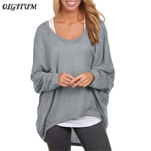 OLGITUM 2018 New Fall Women's Blouse Casual Ladies loose bat long-sleeved shirt ladies solid color comfortable blouse 9 colors(China)