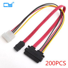 200PCS 6Gb/s SATA3 15pin to SATA 7pin +IDE Molex 4Pin Power / Data Combo Cable for PC SATA 3.0 SATAIII 6Gbps Hard Drive Disk,SSD