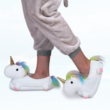 G.L.Brother Fluffy Slippers Home Unicorn Slippers Women Indoor Ladies Winter Chausson Licorne Chinelo Pantufa Unicornio Pantufas