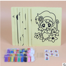 20pcs free shipping 16K Color Sand Art Painting Cards Set Kids with yellow background Educational Drawing toys Pattern Random(China)