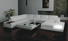 Free Shipping Moden Leather Sofa with Light, coffee table, U shaped for large house, furniture set S8558(China)