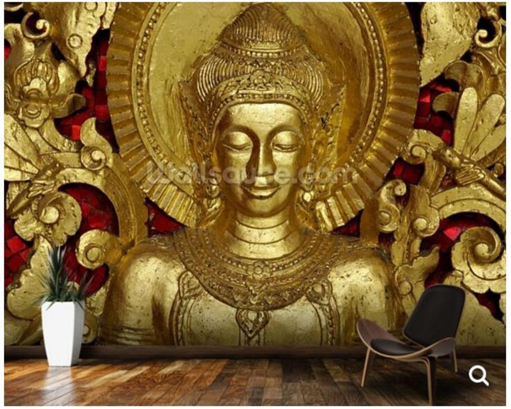 Custom papel de parede,Buddha Carving at temple, Luang Prabang, Laos. fresce wallpaper for living room corridor sofa background<br>