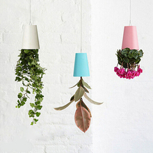 Pink Blue White Black 4Colors Decorative Small Hanging Plant Pot Plastic Upside Down Flower Pots Sky Planter for Home Indoor(China)