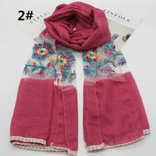 New fashion luxury flower on lace patchwork with solid viscose scarf lace floral edges plain shawl muslim hijabs wraps 10pcs