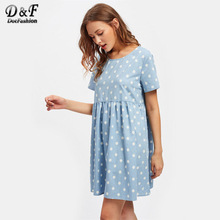 Dotfashion Polka Dot Print Smock Dress 2017 Summer Blue Short Sleeve Short Dress Woman Round Neck A Line Cute Dress(China)