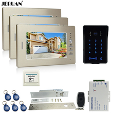 JERUAN luxury 7`` LCD video doorphone intercom system 3 monitor RFID waterproof Touch Key password keypad camera+remote control