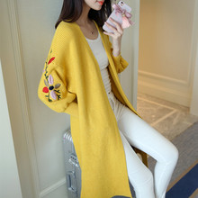 2017 new female knit cardigan jacket in spring and autumn period and long embroidered loose sweater with a lantern sleeve(China)