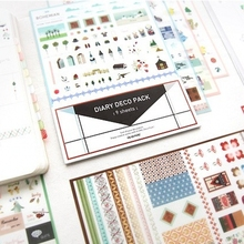 9Sheets/Lot Cute Iconic DIARY DECO PACK Kawaii Sticker Planner Stickers Note Sticker Message Sticker Stationery