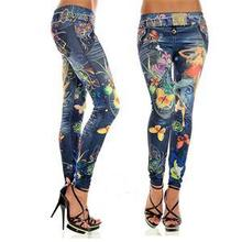 1pcs women leggings Imitation cowboy printed leggings Single yard fitness for women sexy ladies butterfly pants(China)