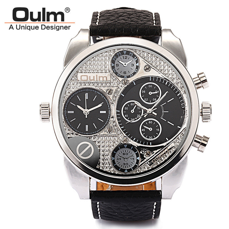 2017 New Arrival Mens Top Brand OULM 9316 Watches High Quality Leather Strap Double Japan Movt Quartz Analog Display Silver Dial<br><br>Aliexpress