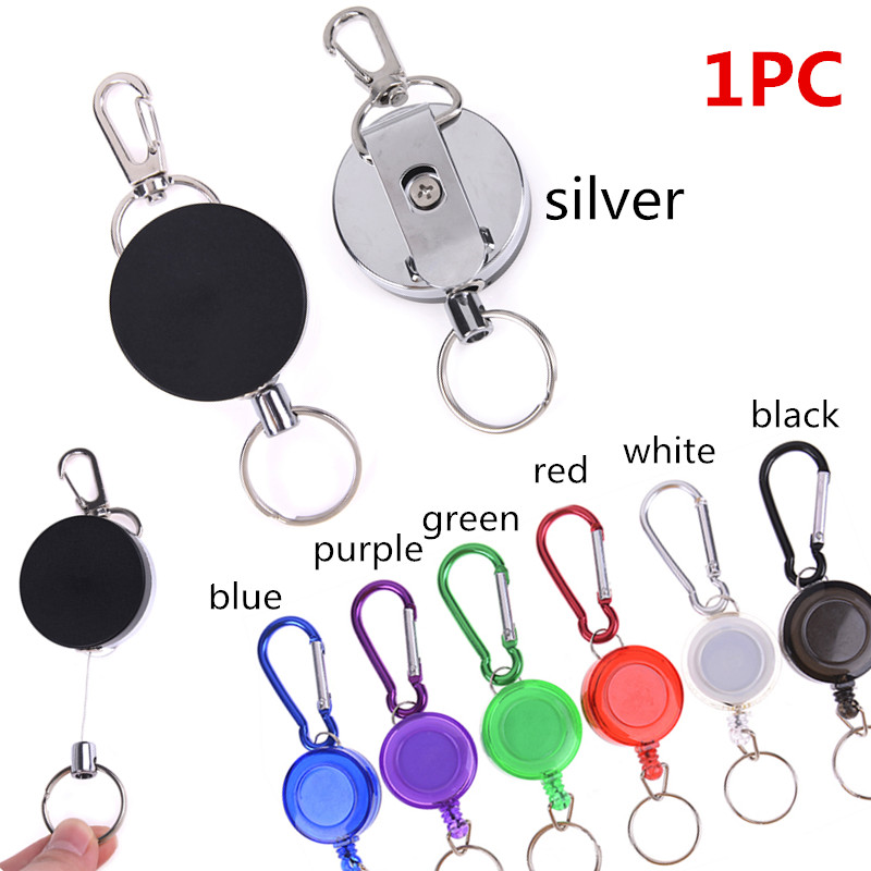 Badge Reel Key Chain Ring Retractable Recoil Chain Ski Keyring Holder Steel