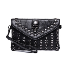 2017 fashion skull rivets women's day clutch bag trend one shoulder cross-body all-match women's handbag  small messenger bag