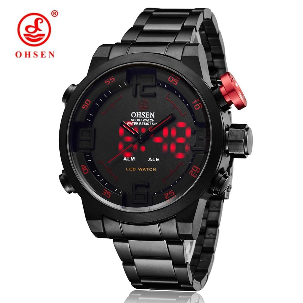 OHSEN Male Clock Digital LED Sport Watch Mens Top Brand Luxury Steel Band Wrist Watch Dual Dispaly Quartz-Watch Reloj Hombre<br>