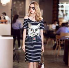 2017 New Summer Dress Women Fashion Lady Cats dress Off Shoulder Stripe High Quality Clothing 6-20days Free Shipping