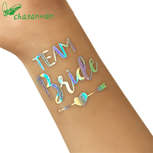 50Pc Rainbow Silver Team Bride Temporary Tattoo Stickers Bars Party Bride Party Wedding Dress Birthday Party Decorations.B