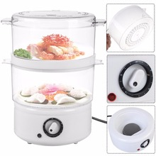 Goplus Electric Kitchen Double-tiered Food Steamer Steaming Bowl Cooking Meal Vegetable Veggie Home Kitchen Tools HW51746(China)