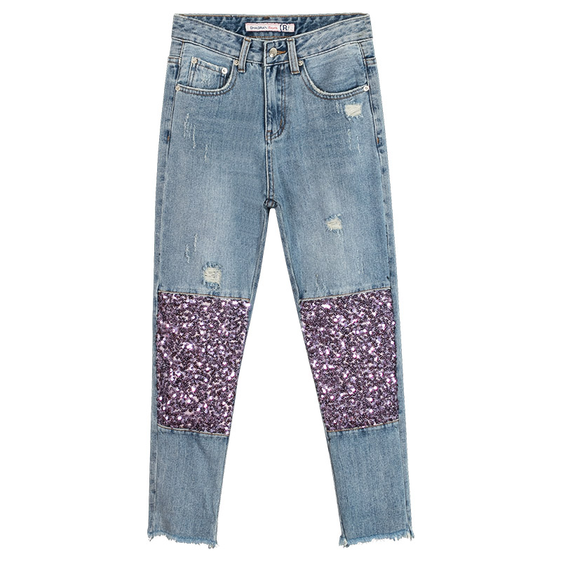 Summer Fall Casual Womens Sequins Patchwork Ripped Slim Ankle Length Denim Trousers , Female Women Glitter Cross Pants Jeans