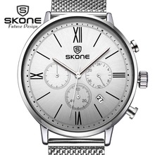 SKONE 3 Dials Multifunction Watches Men Fashion Top Brand Luxury Mens Quartz Watch Dress Watch Relogio Masculino XFCS Hodinky