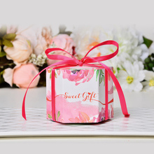 50pcs European creative sweet blue / pink flower large wedding favors candy box gift box party welcome box(China)