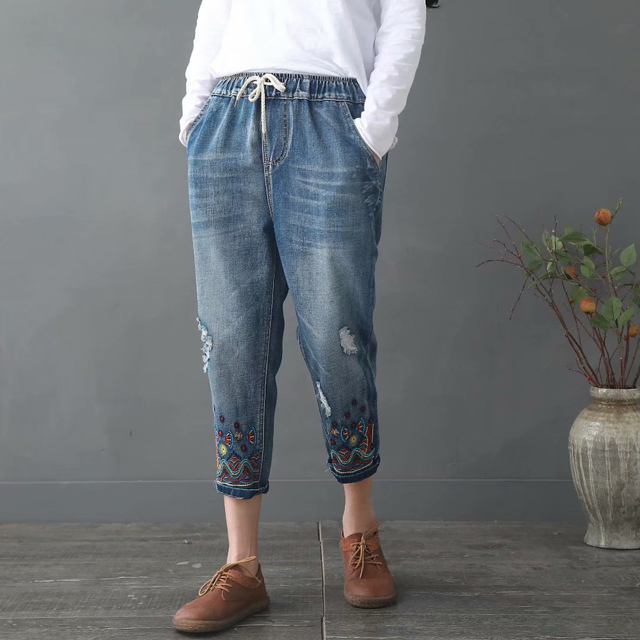 Women Harem Jeans Bottom Denim Pants Trousers Embroidery Holes Big Loose Vintage Casual Fashion for Spring Summer 19048