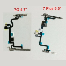 New Power On Off Button Volume Mute Switch Flex Cable with Metal Bracket for iPhone 7 and 7 Plus Replacement Parts(China)